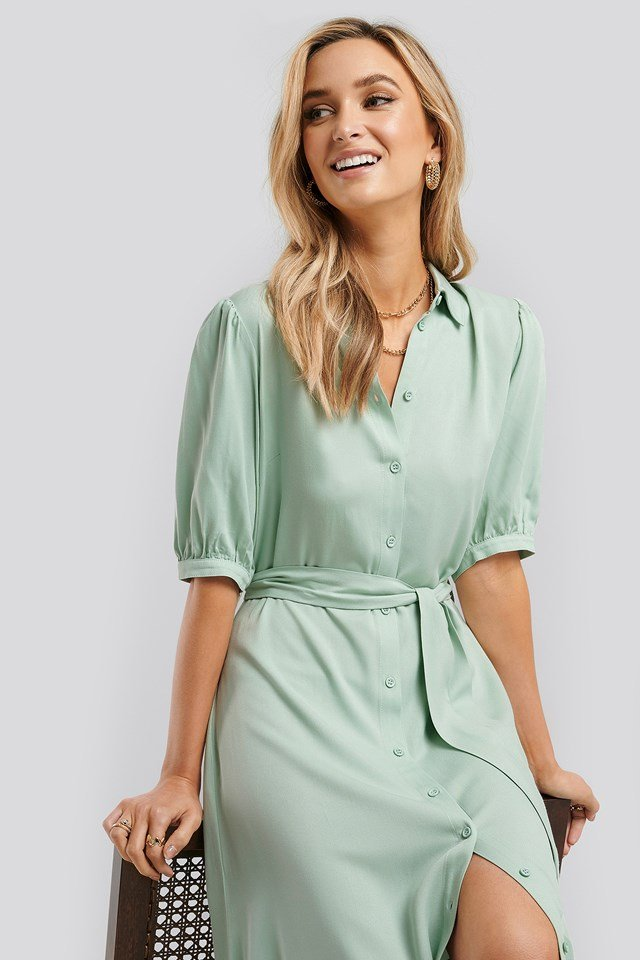 Puff Sleeve Belted Midi Dress Green
