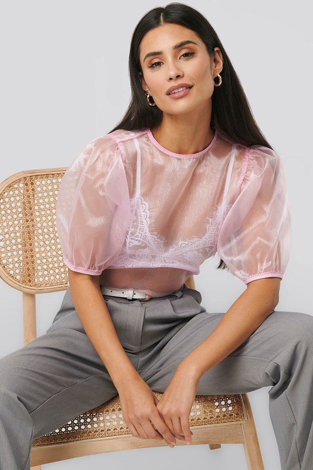 Puff Sleeve Blouse Pink
