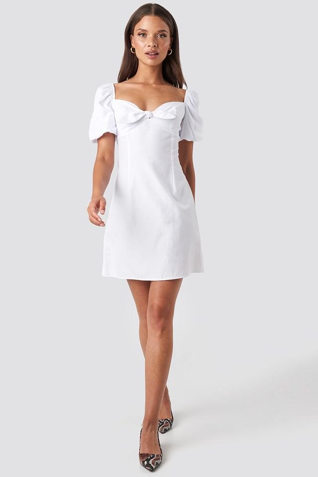 Puff Sleeve Bow Mini Dress White