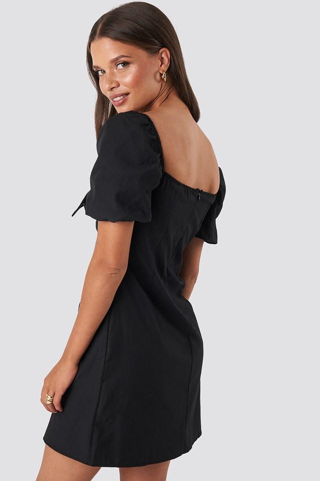Puff Sleeve Bow Mini Dress Black