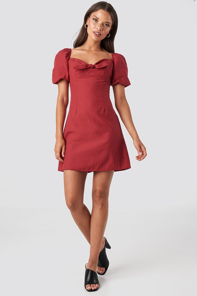 Puff Sleeve Bow Mini Dress Red