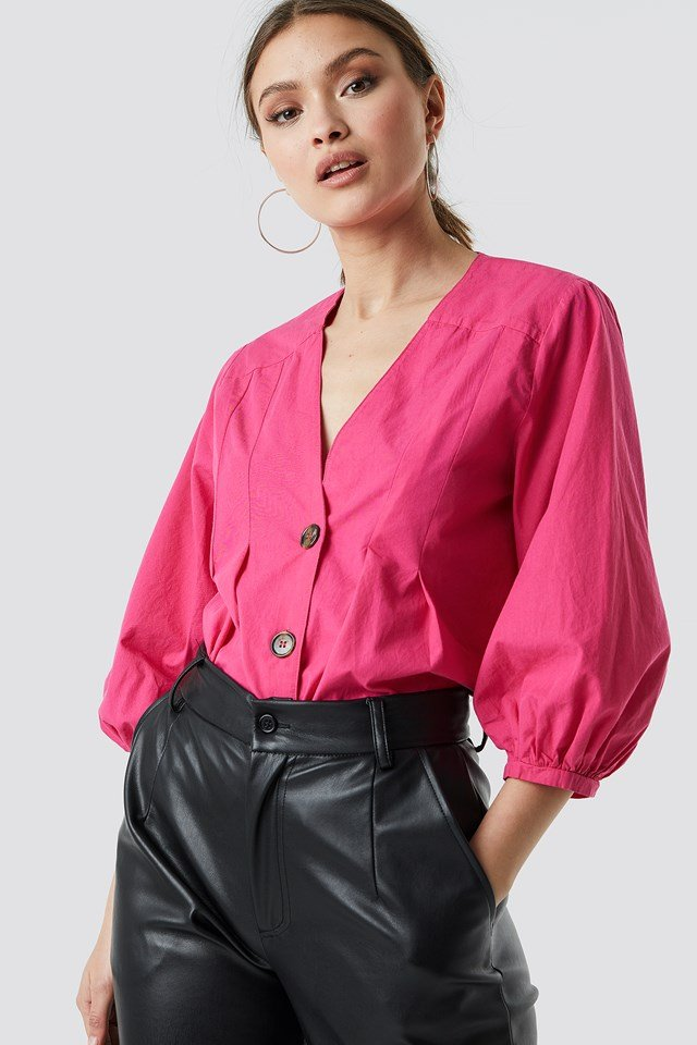 Puff Sleeve Button Up Blouse Bright Pink