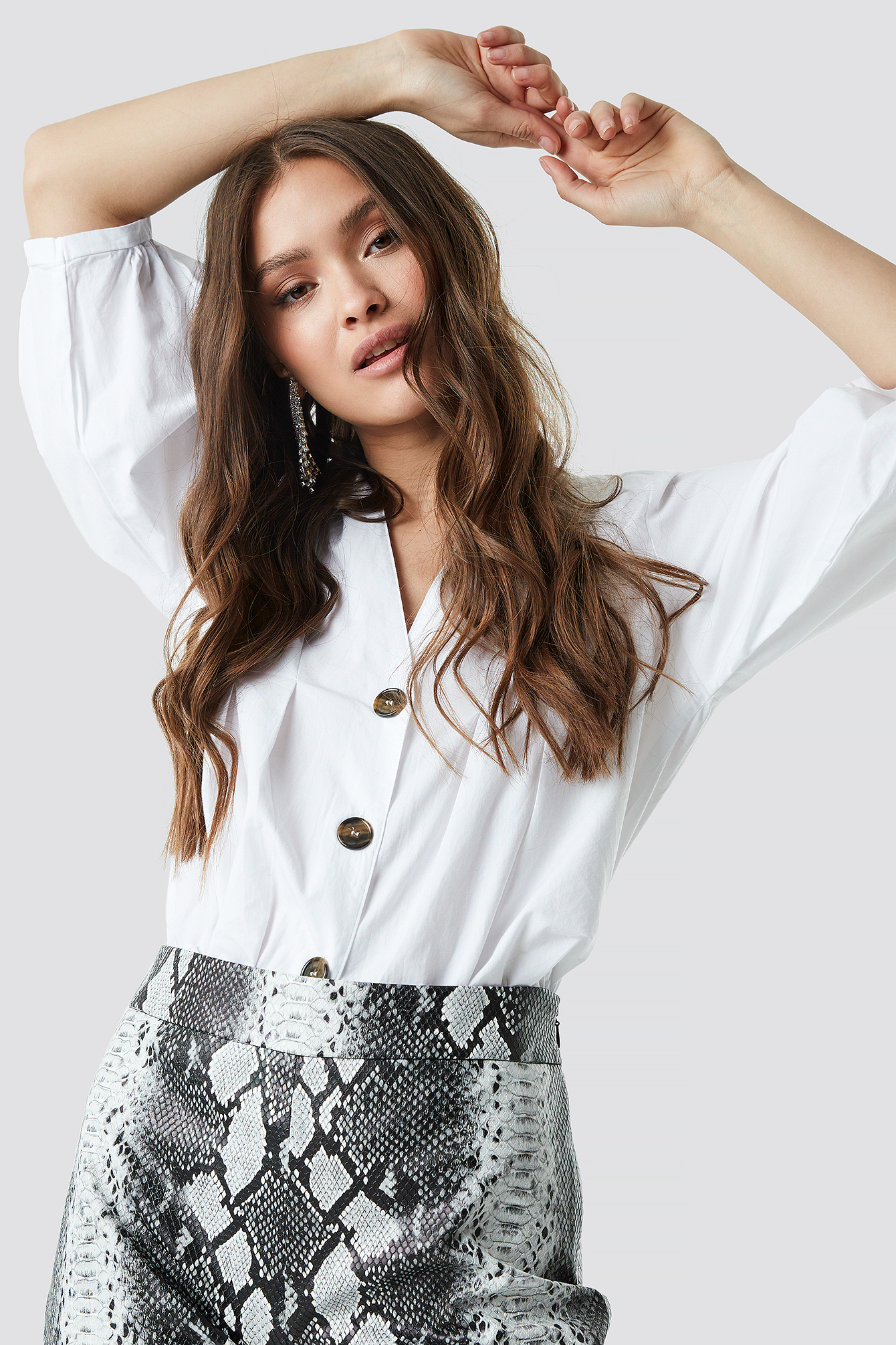 Puff Sleeve Button Up Blouse NA-KD.COM