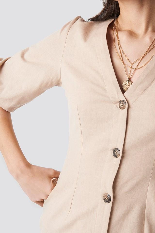 Puff Sleeve Button Up Dress Light Beige