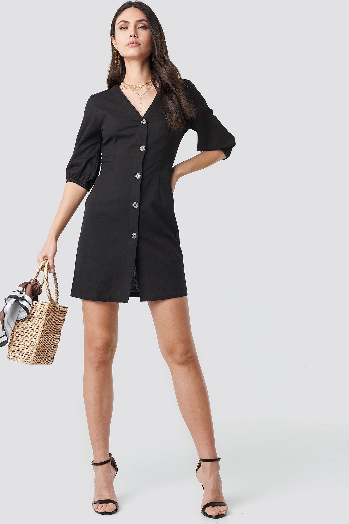 Puff Sleeve Button Up Dress NA-KD.COM