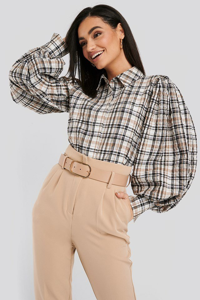 Puff Sleeve Check Oversized Shirt Brown