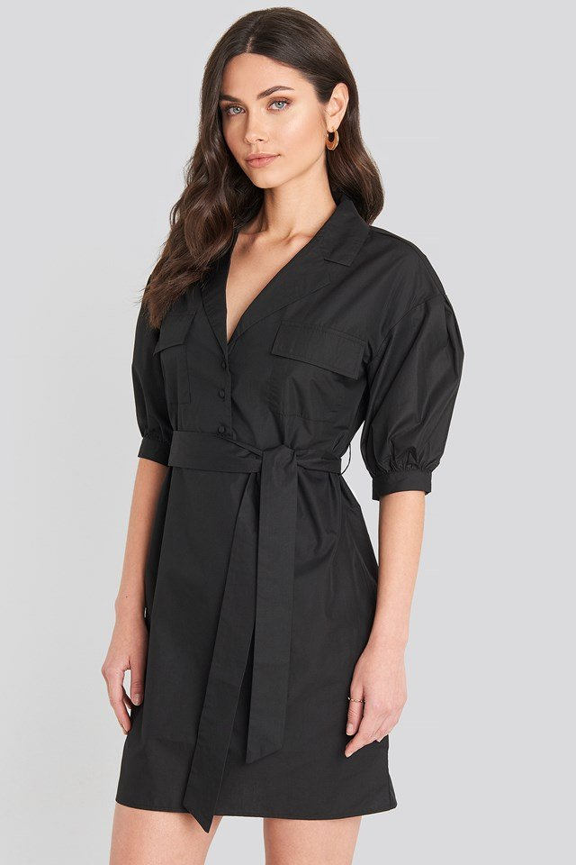 Puff Sleeve Chest Pocket Mini Dress Black
