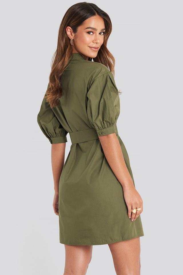 Puff Sleeve Chest Pocket Mini Dress Green