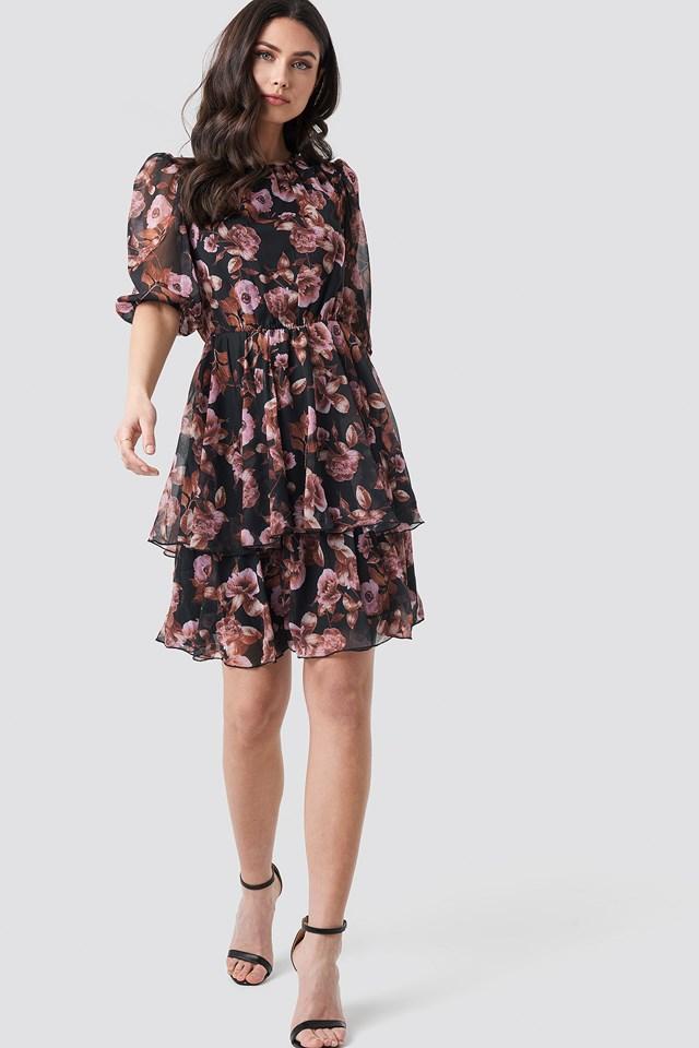 Puff Sleeve Chiffon Mini Dress Black/Pink Flower Print