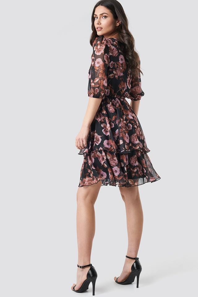 Puff Sleeve Chiffon Mini Dress Black/Pink Flower Print