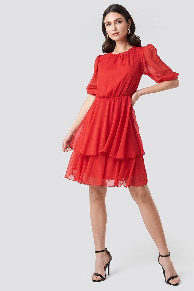 Puff Sleeve Chiffon Mini Dress Red