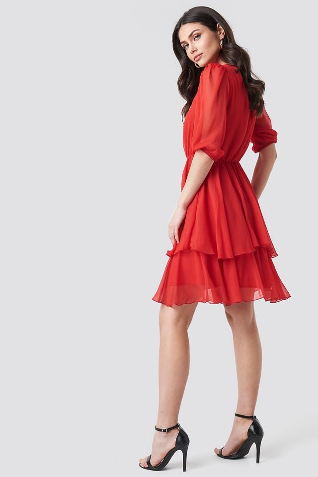 Puff Sleeve Chiffon Mini Dress Red