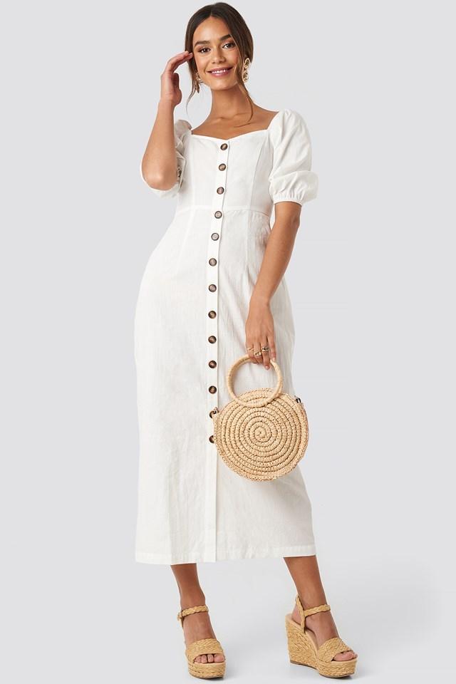 Puff Sleeve Cotton Dress White