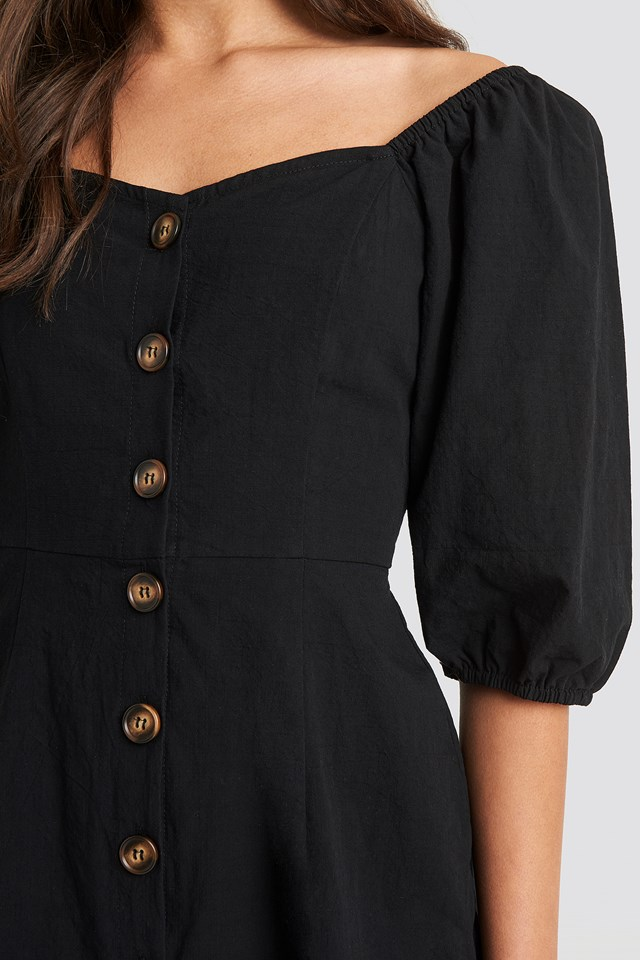Puff Sleeve Cotton Mini Dress Black