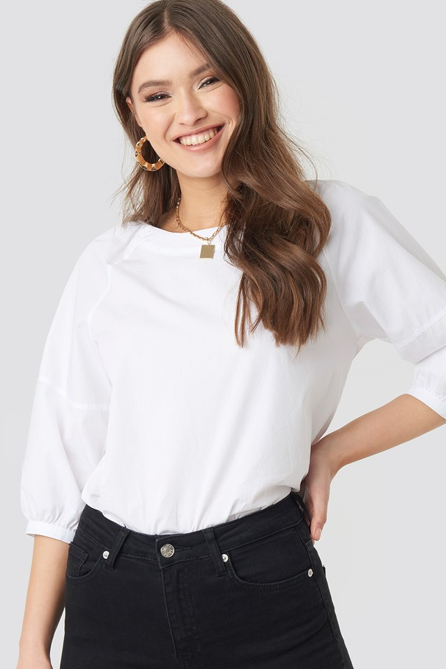 Puff Sleeve Cotton Top White