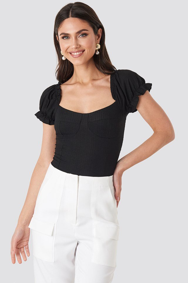Puff Sleeve Crepe Top Deep Black