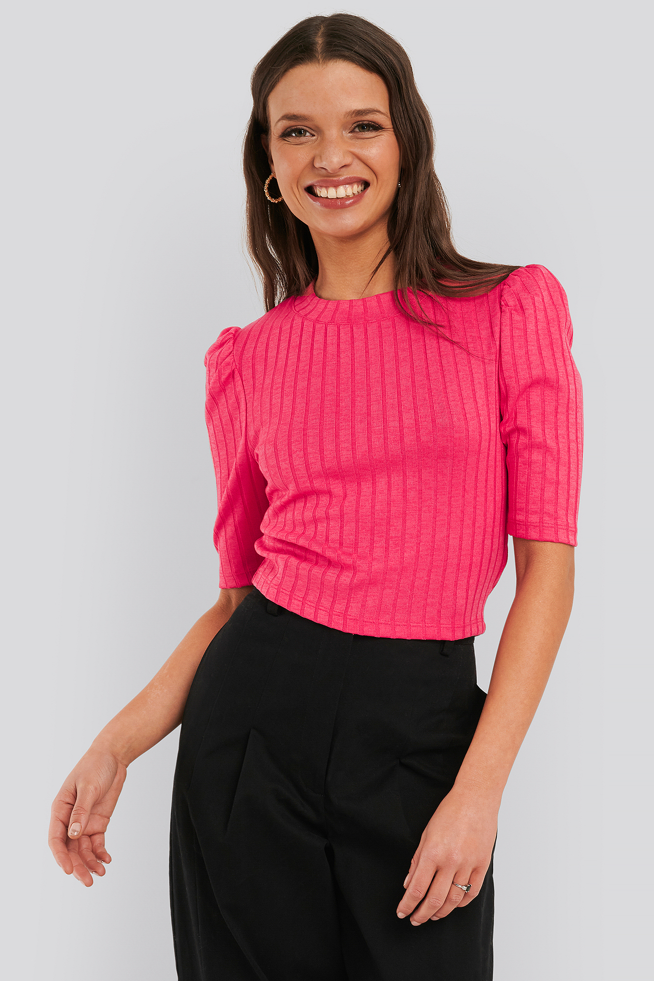 na-kd -  Puff Sleeve Cropped Ribbed Top - Pink