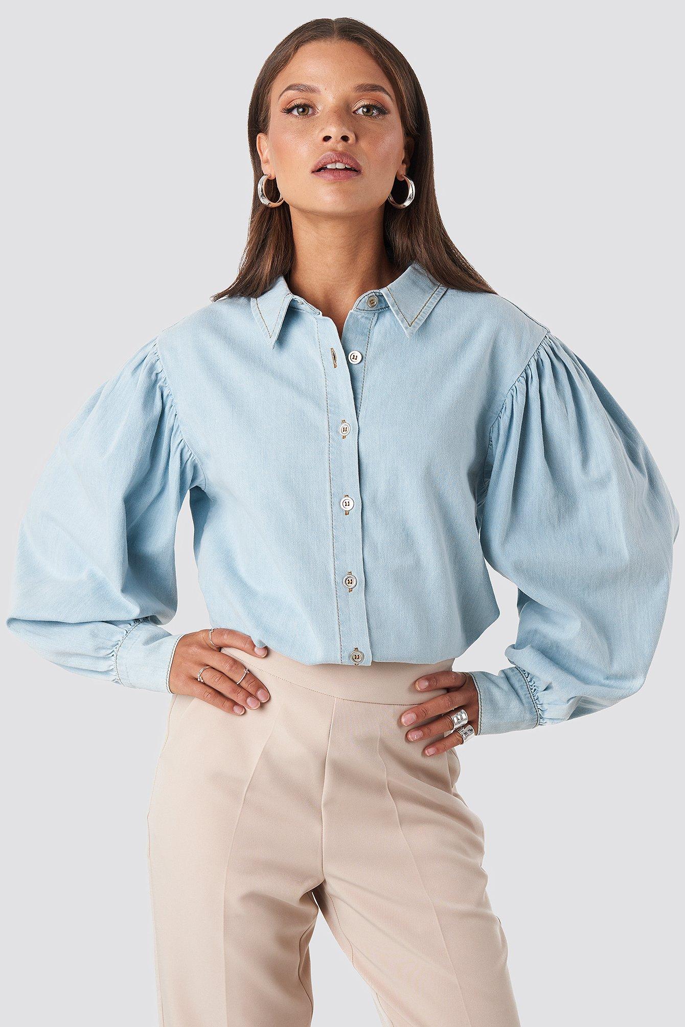 Puff Sleeve Denim Shirt Blue by Na Kd