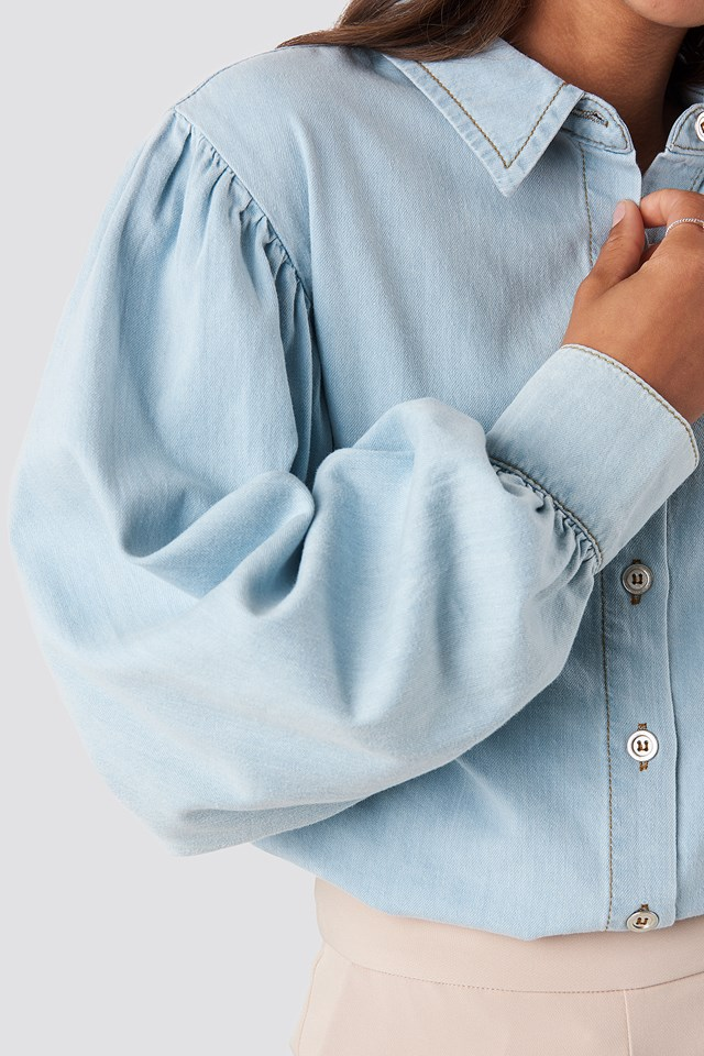 Puff Sleeve Denim Shirt Light Blue