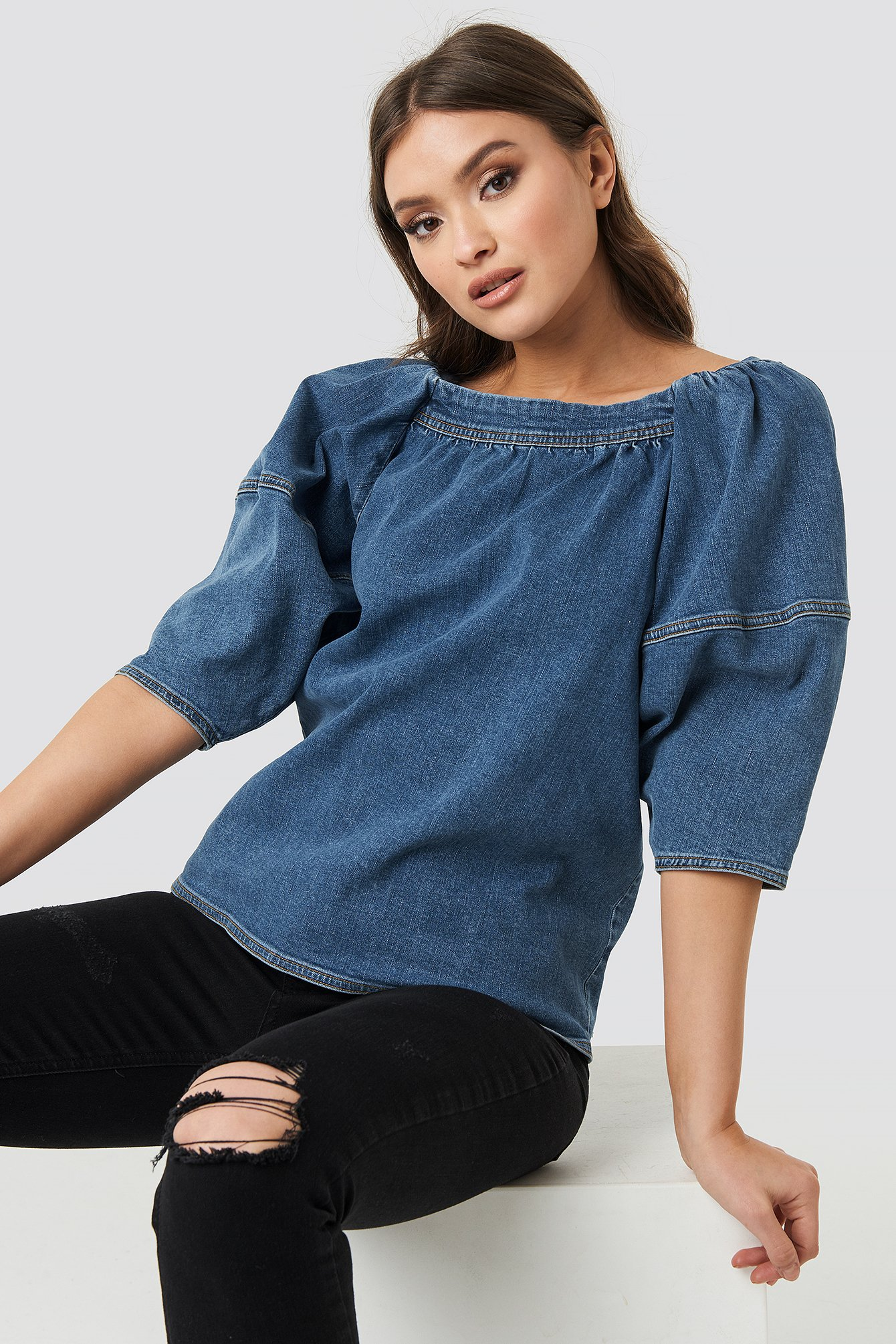 Puff Sleeve Denim Top NA-KD.COM