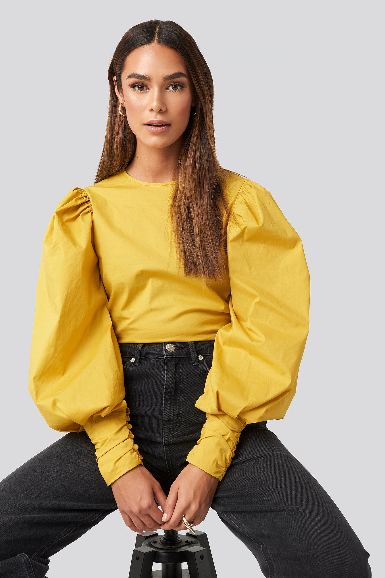 Puff Sleeve Fitted Top Yellow by Na Kd Trend