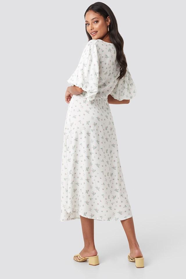 Puff Sleeve Floral Midi Dress Floral Print