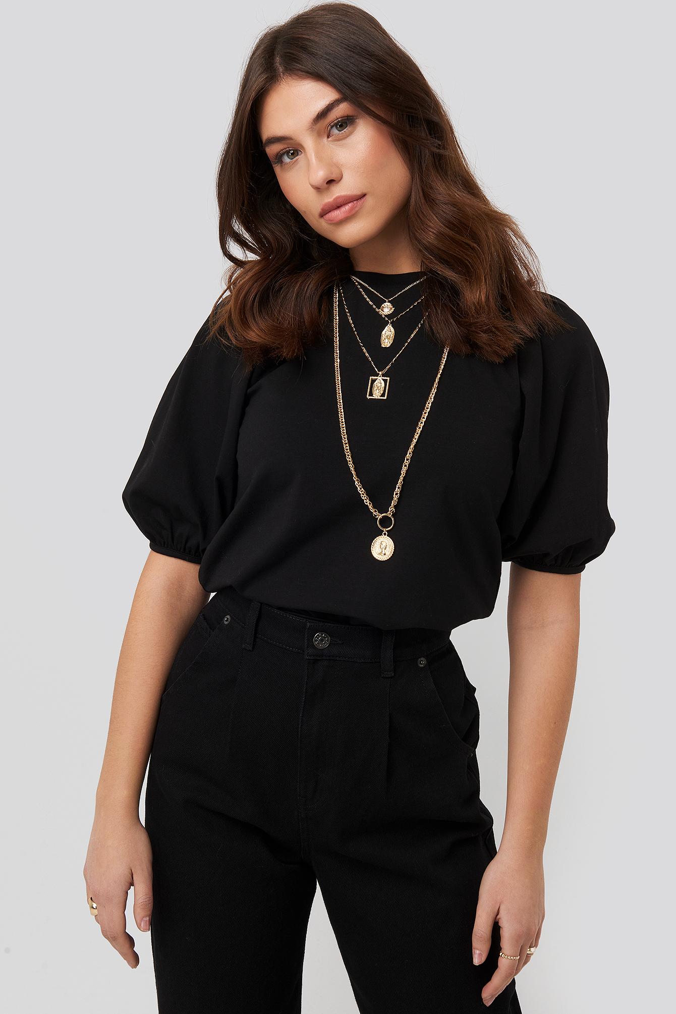 NA-KD Puff Sleeve Jersey Top - Black