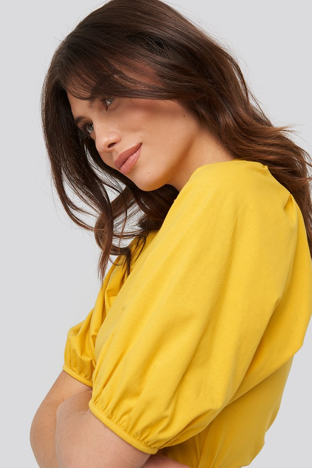 Puff Sleeve Jersey Top Mustard