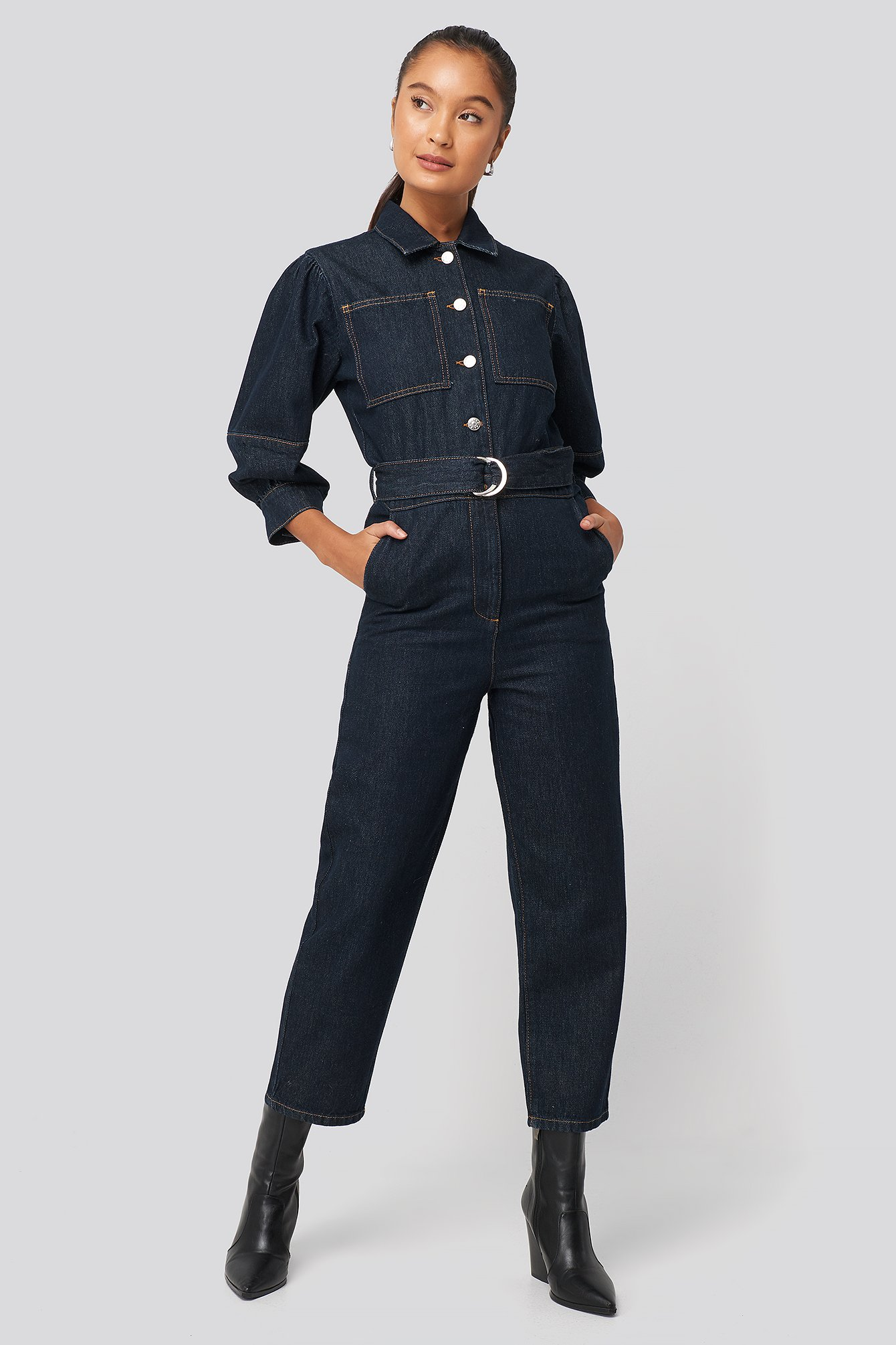 na-kd trend -  Puff Sleeve Jumpsuit - Blue