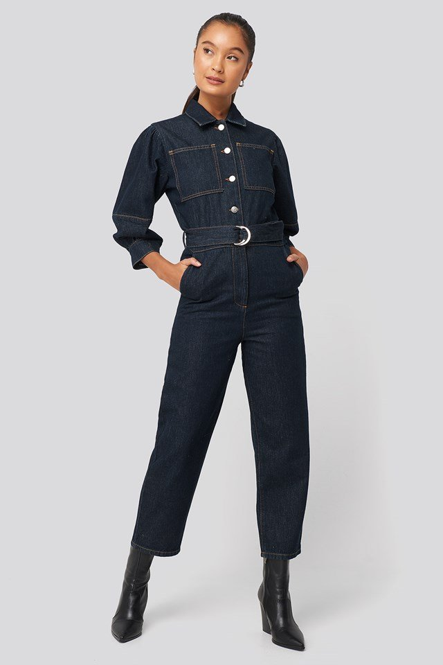 Puff Sleeve Jumpsuit Dark Blue