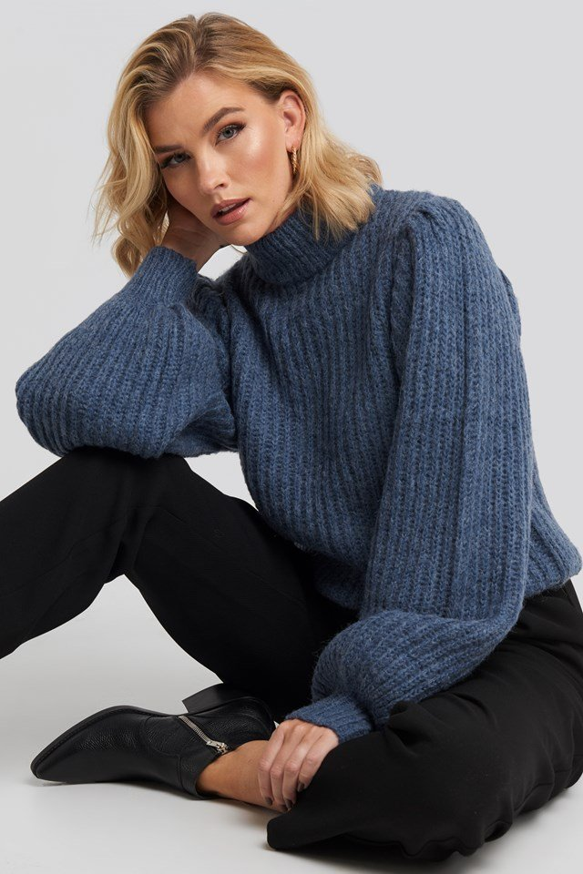 Puff Sleeve Knitted Sweater Blue