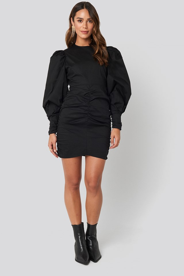 Puff Sleeve Mini Dress Black