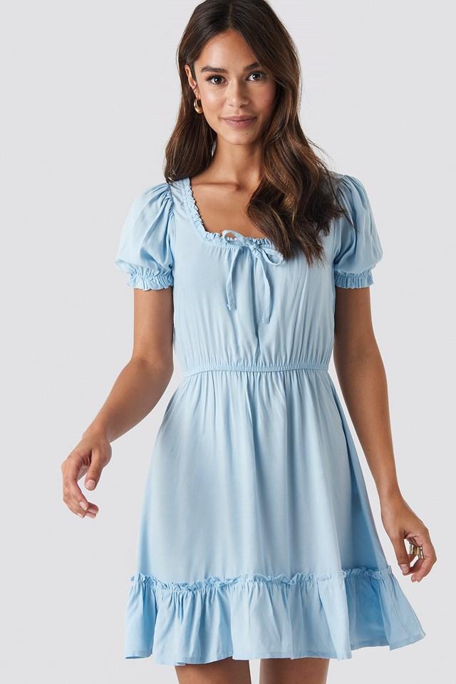 Puff Sleeve Mini Dress Blue