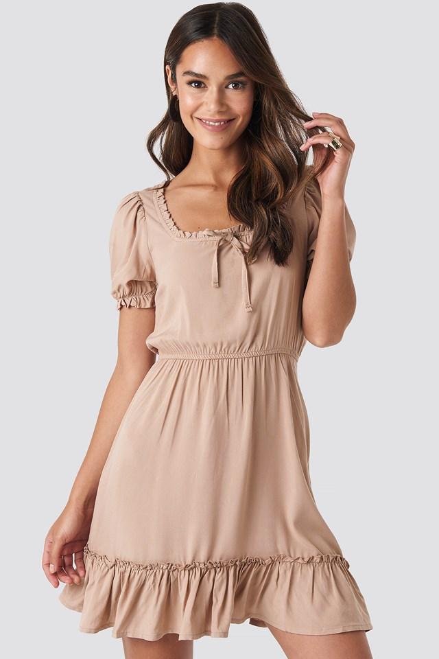 Puff Sleeve Mini Dress Beige