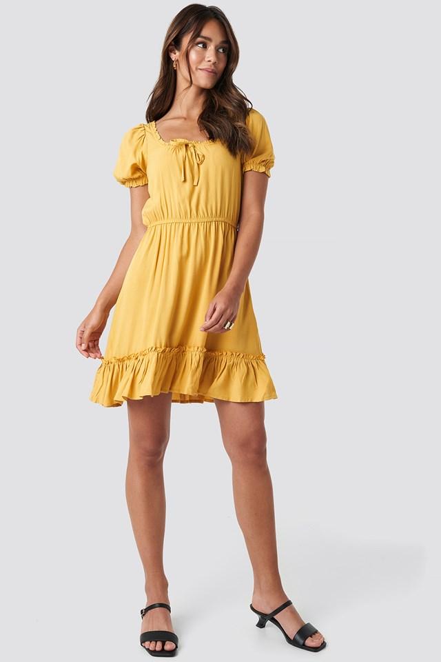 Puff Sleeve Mini Dress Yellow
