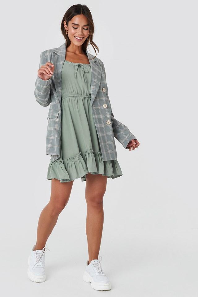 Puff Sleeve Mini Dress Khaki