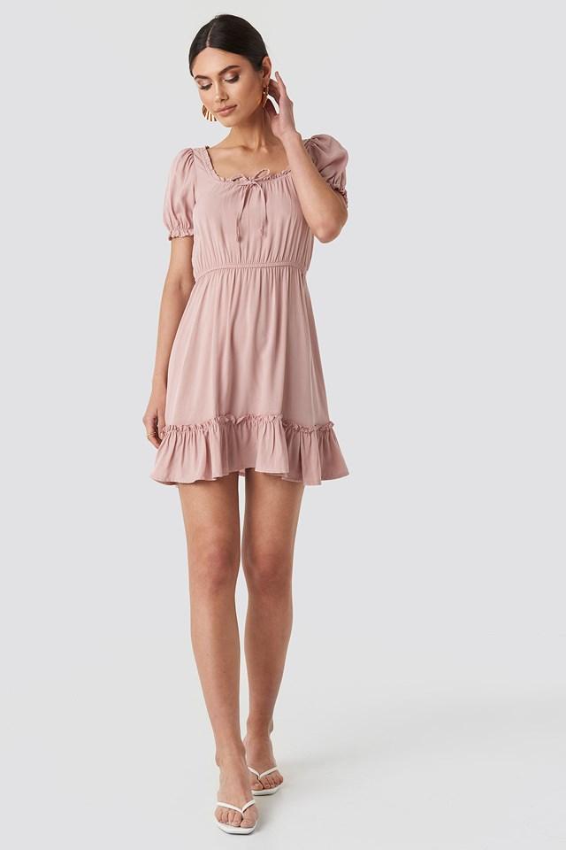 Puff Sleeve Mini Dress Mauve