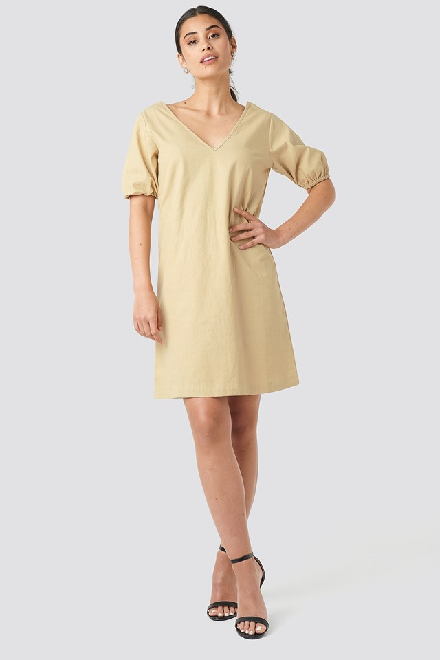 Puff Sleeve Mini Dress Beige