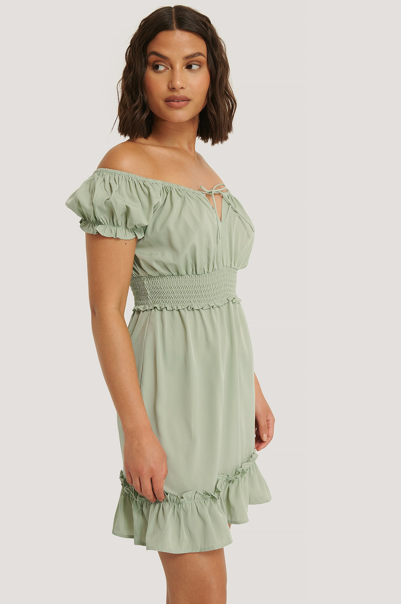 Dusty Green Puff Sleeve Mini Flounce Dress