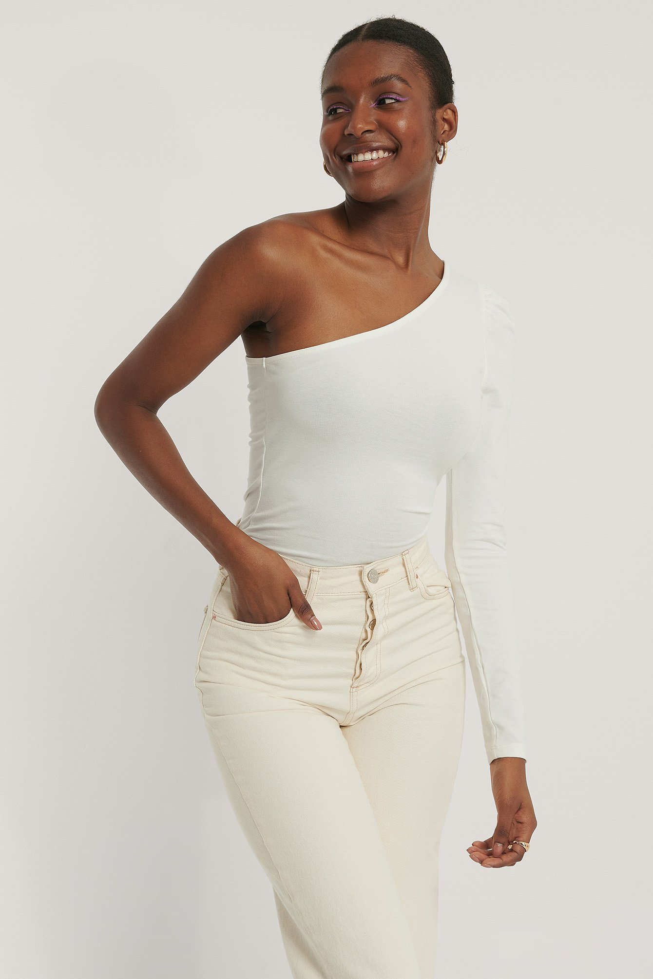 NA-KD Trend Puff Sleeve One Shoulder Top - Offwhite