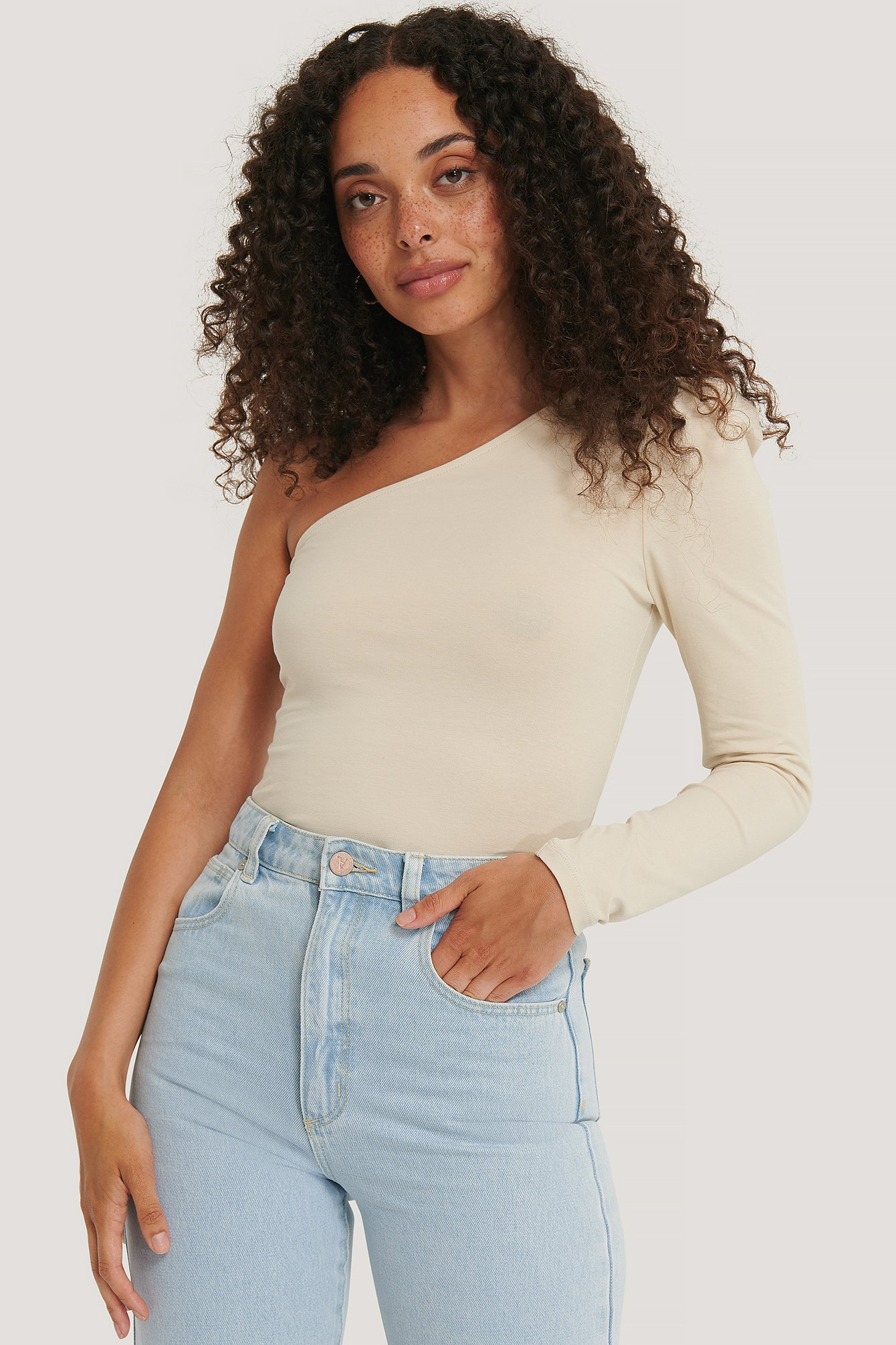 NA-KD Trend Puff Sleeve One Shoulder Top - Beige