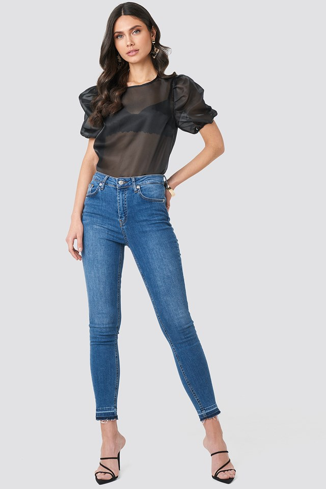Puff Sleeve Organza Blouse Black