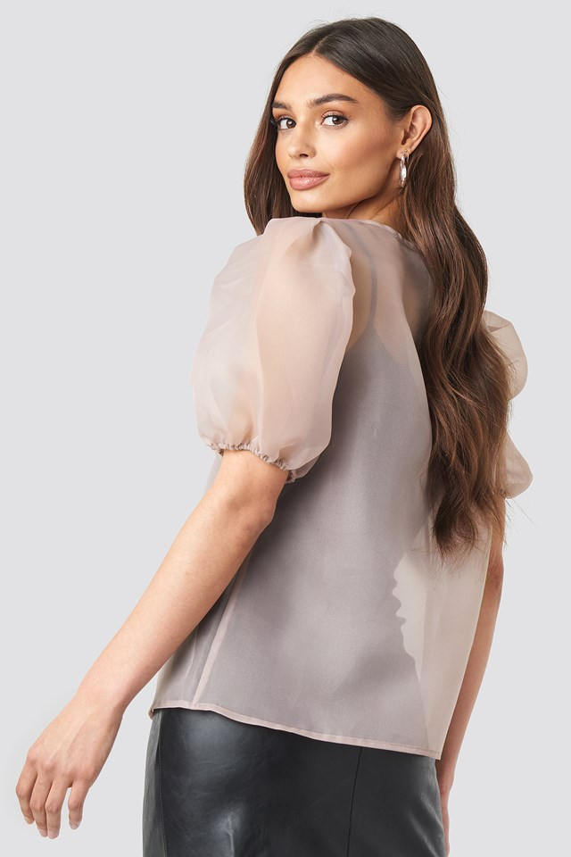 Puff Sleeve Organza Blouse Dusty Pink