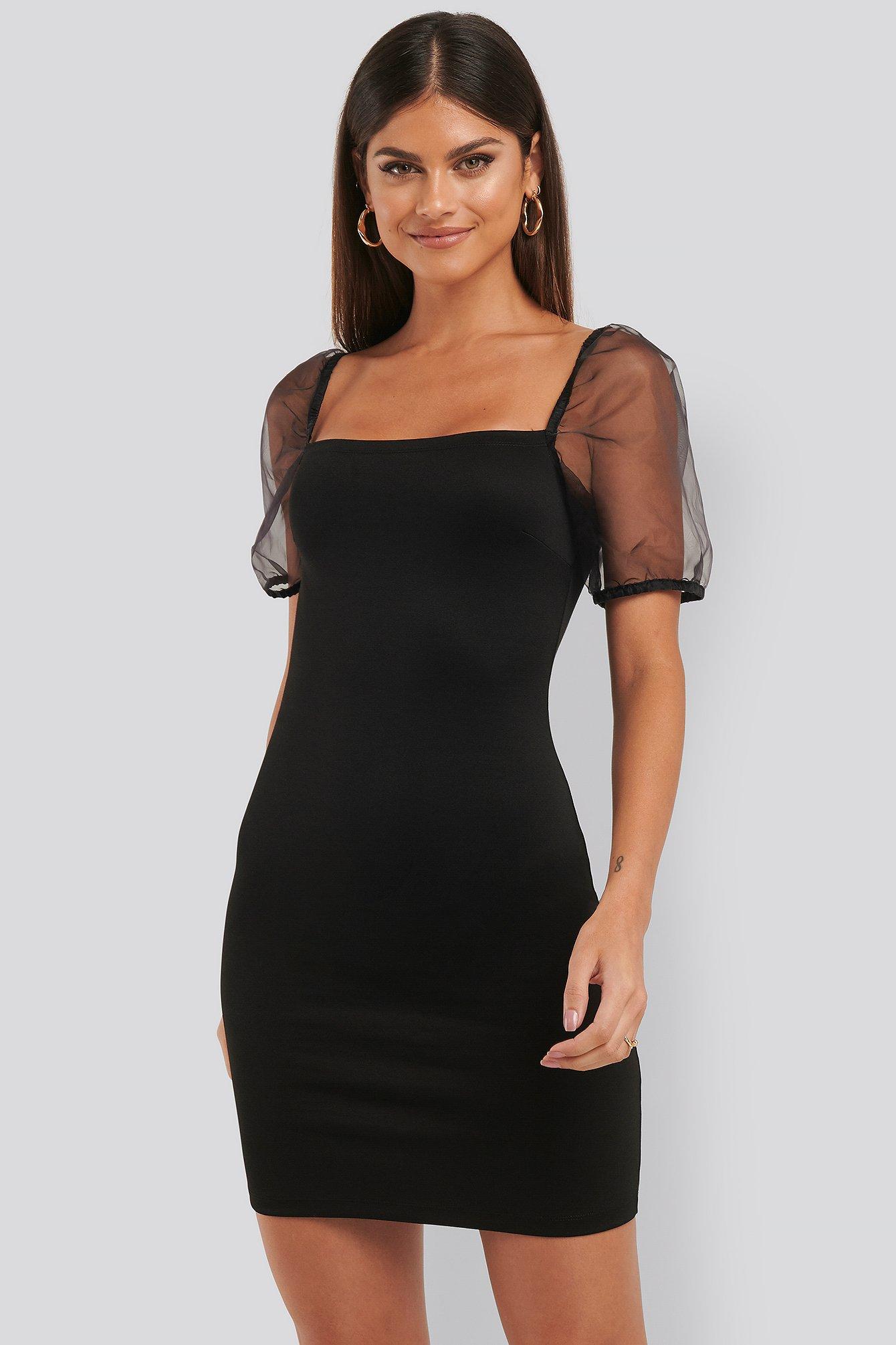 na-kd party -  Puff Sleeve Organza Dress - Black