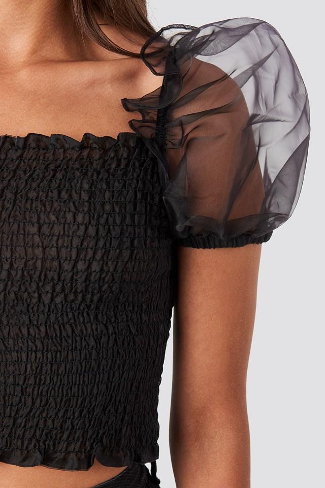 Puff Sleeve Organza Smocked Top Black