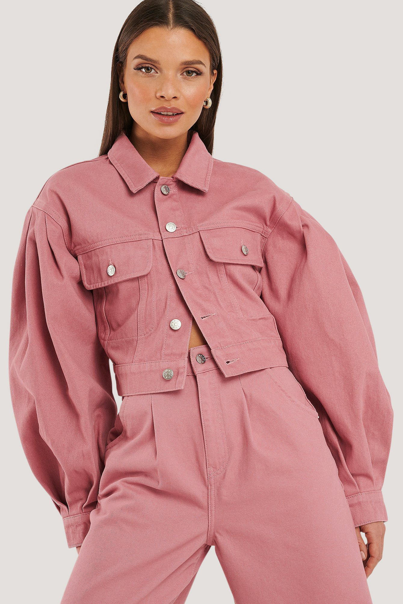 na-kd trend -  Puff Sleeve Oversized Denim Jacket - Pink