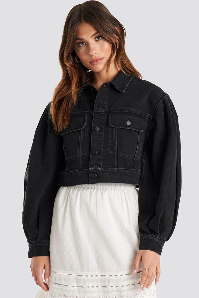 Puff Sleeve Oversized Denim Jacket Black