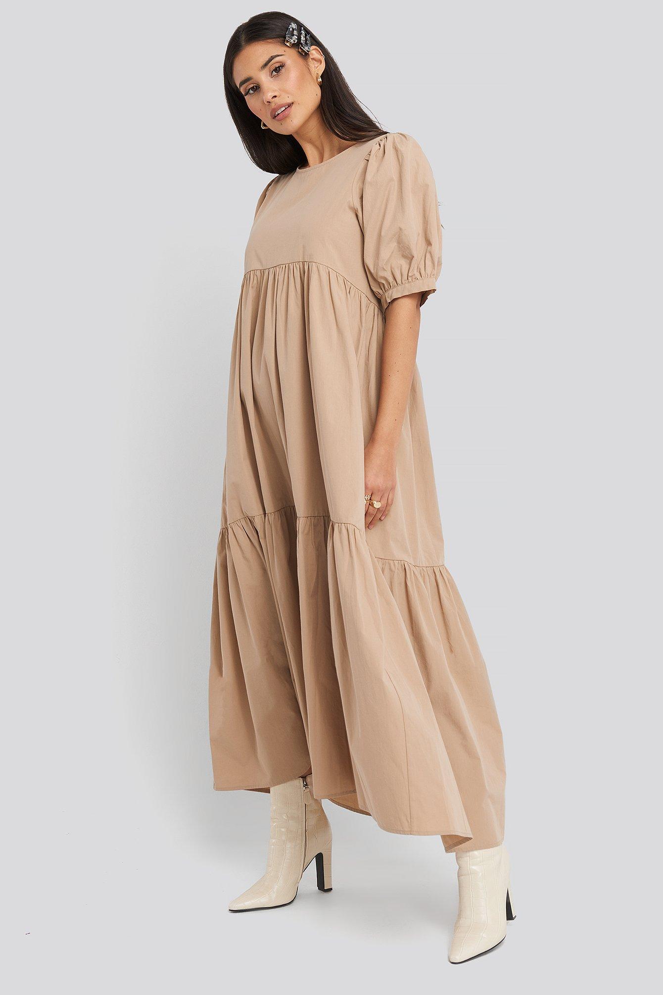 NA-KD Boho Puff Sleeve Pleated Tiered Midi Dress - Beige