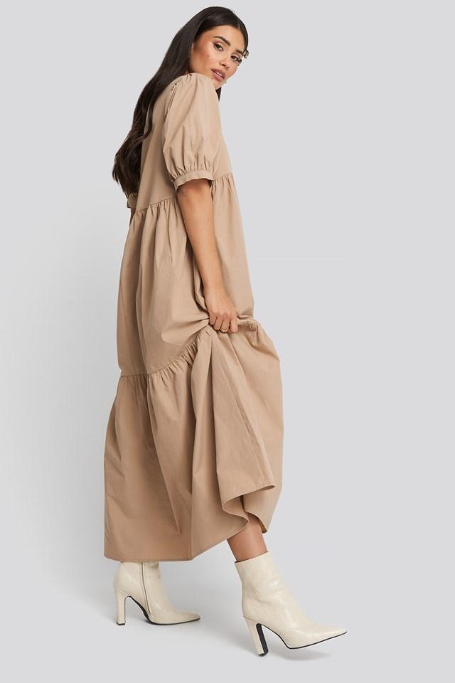 Puff Sleeve Pleated Tiered Midi Dress Beige