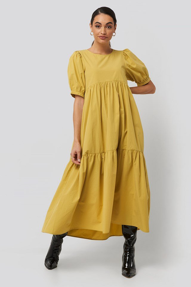 Puff Sleeve Pleated Tiered Midi Dress Yellow